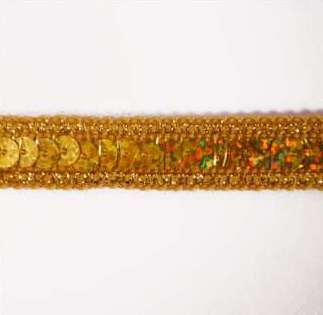 E6172  Holographic Gold Sequin Sewing Trim