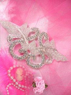 "Crystal Rhinestone Applique Silver Beaded Pageant Wear DIY Dance Supplies JB1 6.5"""