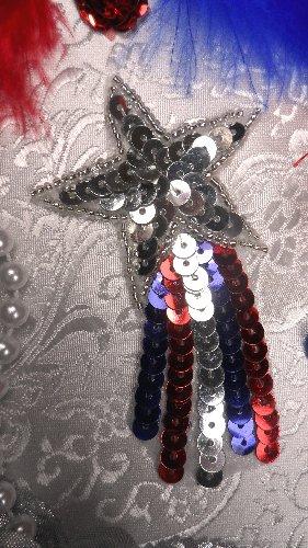 JB103 Star  Applique Shooting Patriotic Sequin Silver Beaded 3.5\
