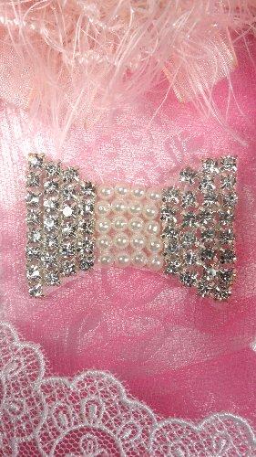 JB106 Crystal Rhinestone Applique Bow  With Pearls 2
