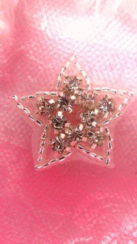JB108 Crystal Rhinestone Applique Silver Beaded Star  1