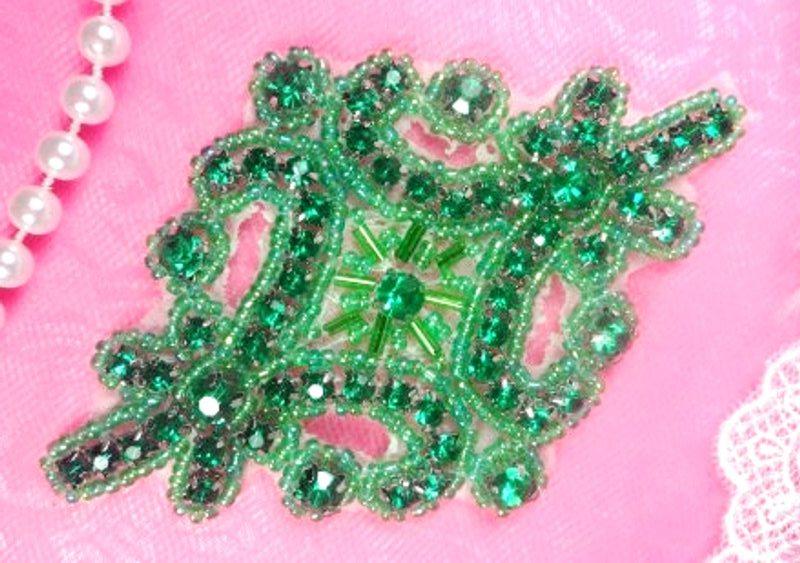 Green Applique Crystal Rhinestone Green Beaded 4  XR391-gr