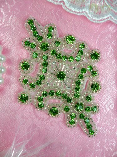 JB115 Rhinestone Applique Lime Green Silver Beaded Motif 4\