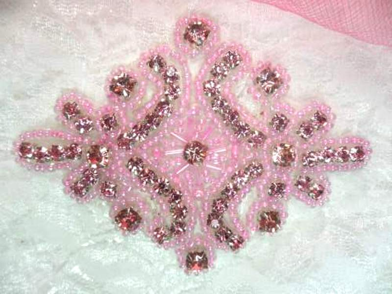 Applique Mauve Pink Rhinestone Pink Beaded  4  XR391