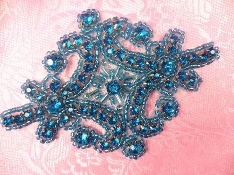 Applique Turquoise Crystal Rhinestone Beaded  4  XR391