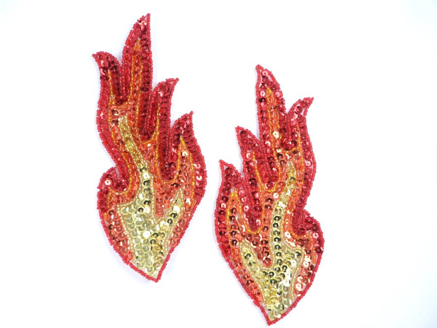 Curved Appliques Flames Red Orange Gold Sequin Beaded MIRROR PAIR 6  JB117X