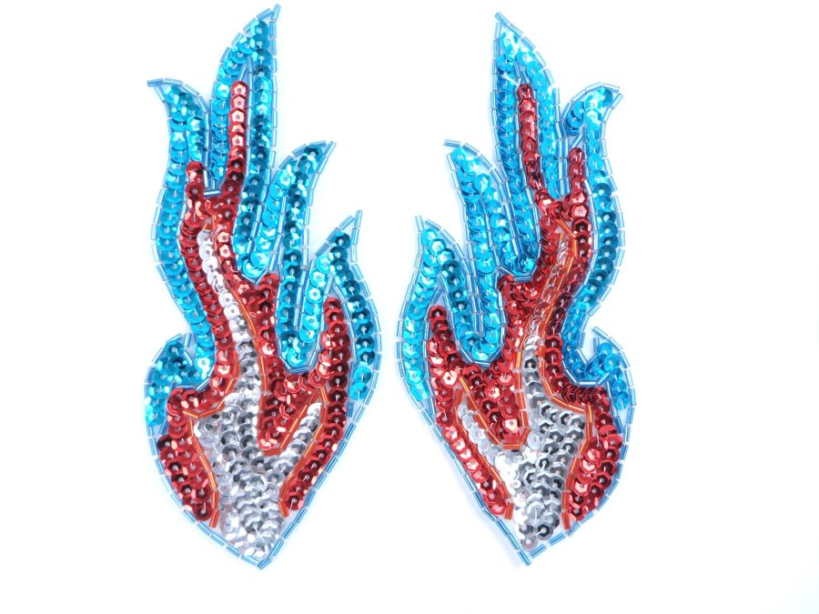 Appliques Flames Turquoise Red Silver Sequin Beaded MIRROR PAIR 6  JB117X