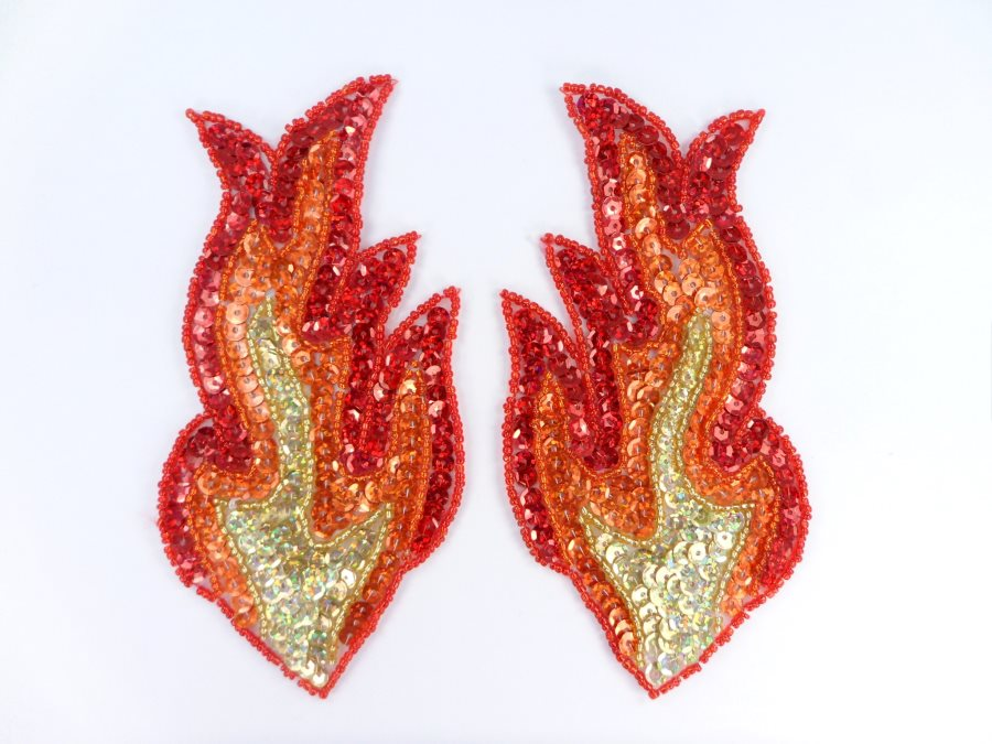 Flame Appliques HOLOGRAPHIC Sequin Beaded Red Orange Gold MIRROR PAIR 6  JB117X