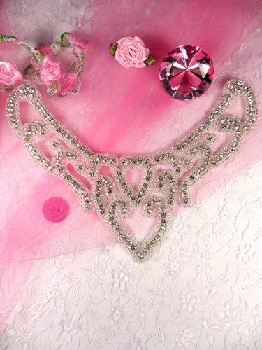 JB12 Heart Collar Crystal Clear Silver Beaded Applique 7.5\