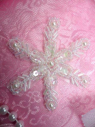 JB125 Crystal Pearl Snowflake Beaded Sequin Applique 2.5\