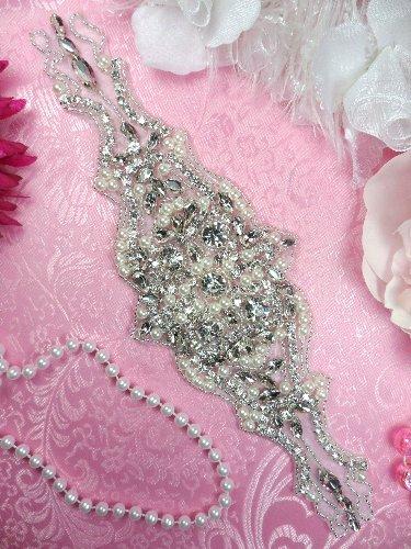 JB133 Pearl Applique Silver Beaded Crystal Rhinestone 10