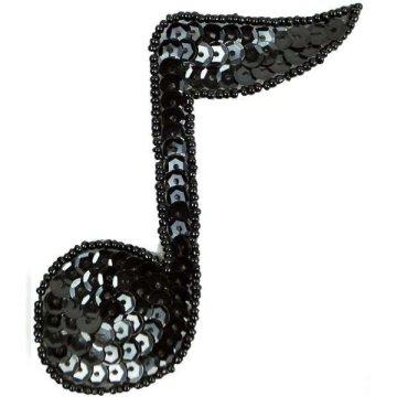 JB141 Black Applique Music 1/4 Note Sequin Beaded 3.75