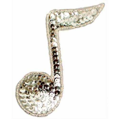 JB141 Silver Applique Music 1/4 Note Sequin Beaded 3.75\