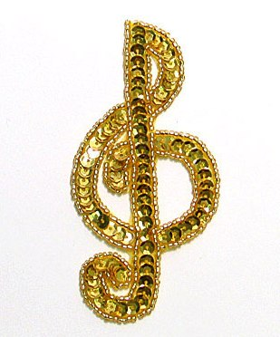 JB142 Music Note Applique Gold G Clef Sequin Beaded 3.75""