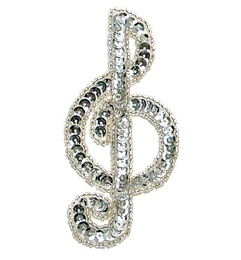JB142 Music Note Applique Silver G Clef Sequin Beaded 3.75