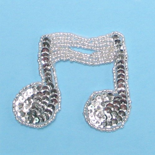 JB144 Music Note Applique Silver Double Sequin Beaded 3\