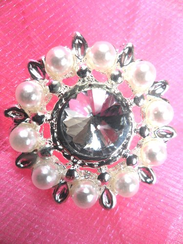 RMJB147 REDUCED Silver Crystal Clear Rhinestone and Pearl Button 1