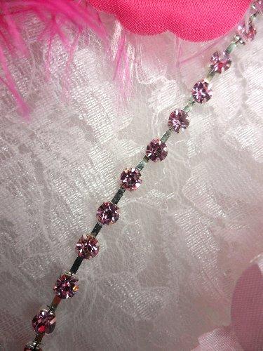 JB148 Pink Silver Elegant Rhinestone Chain Sewing Trim 1/8\