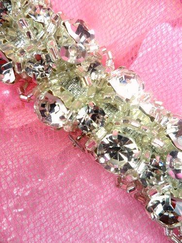 JB150 Cluster Rope Crystal Clear Rhinestone Silver Beaded Trim  1