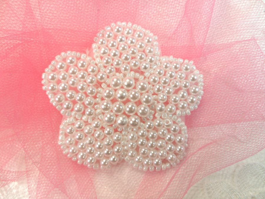 Flower Applique Pearl Beaded Floral 2.5 (JB151S)