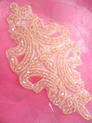 RMJB159 REDUCED Peach Beaded Applique Victorian Motif Patch 6