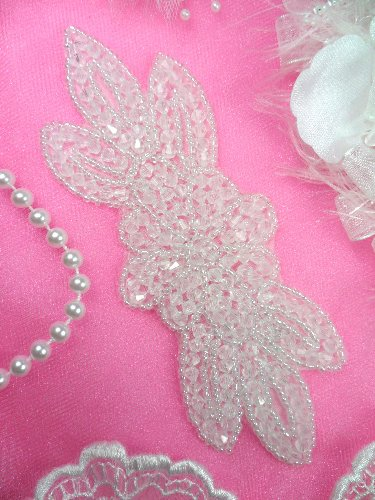 JB162 Crystal Beaded Flower Applique Floral Iron On 6\