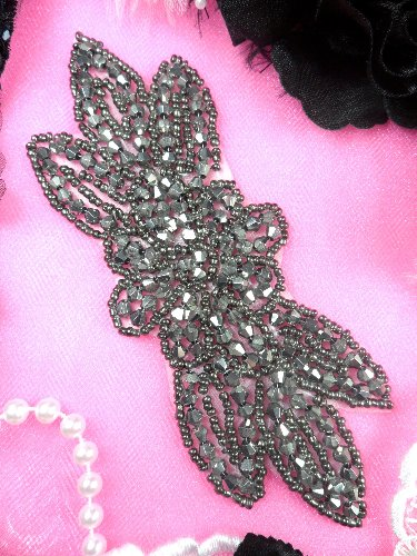 JB162 Pewter Beaded Flower Applique Floral Iron On 6\