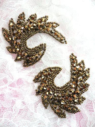 JB186 Appliques Mirror Pair Bronze Curls Glass Beaded Patch 2.5\