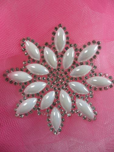 JB188 Crystal Rhinestone Pearl Snowflake Beadless Applique 2.75\