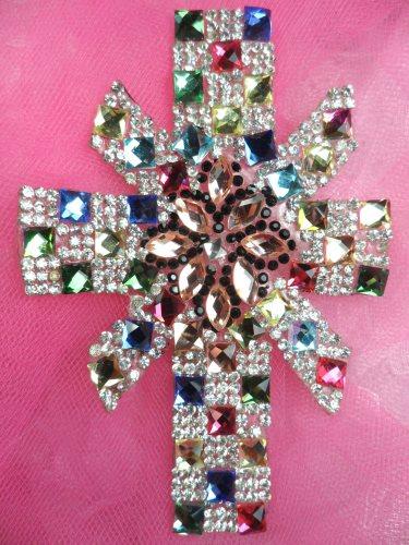 JB190 Rhinestone Jeweled Cross Applique Iron On Patch Crystal 4.5