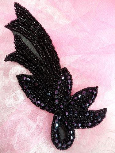 JB212 Glass Beaded Black Applique Patch 5.5\