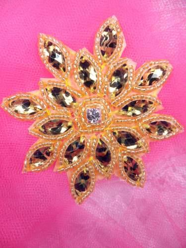 JB219 Gold Leopard Snowflake Jewel Beaded Applique 3\