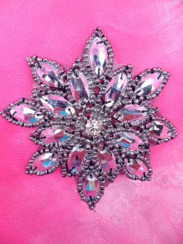 JB219 Metallic Gunmetal Snowflake Jewel Beaded Applique 3\