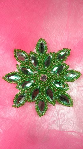 JB219 Applique Green Snowflake Jewel Beaded 3