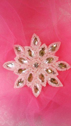 JB219 Pink Snowflake Jewel Beaded Applique 3