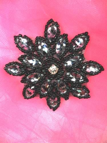 JB219 Black Zebra Snowflake Jewel Beaded Applique 3\