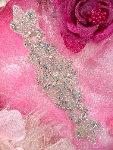 JB22 Aurora Borealis Silver Beaded Crystal AB Rhinestone Applique 7\