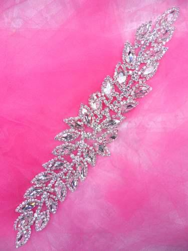 JB230 Silver Crystal Rhinestone Applique Embellishment 10.25\