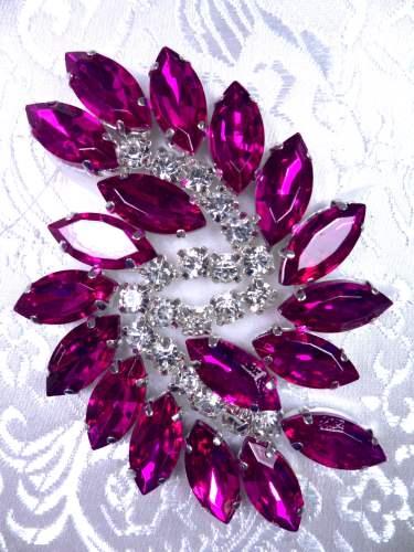 JB234 Fuchsia Marquise Swirl Crystal Rhinestone Applique 2.5