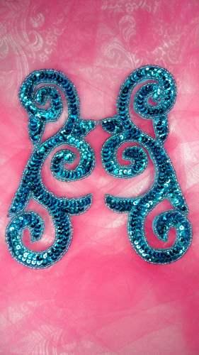 JB239 Mirror Pair Turquoise Scroll Designer Sequin Appliques 6.5\