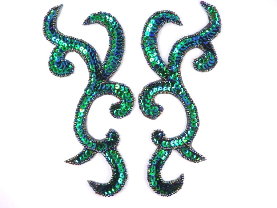 Peacock Scroll Designer Sequin Appliques Mirror Pair 6.75  JB240X