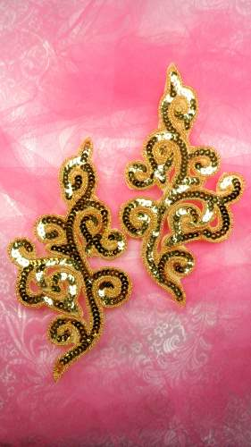 JB242 Gold Sequin Appliques Beaded Iron On Mirror Pair 7\