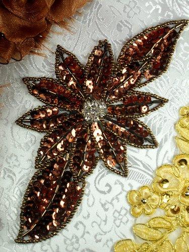 JB25 Bronze Floral Rhinestone Beaded Sequin Applique 6.5\