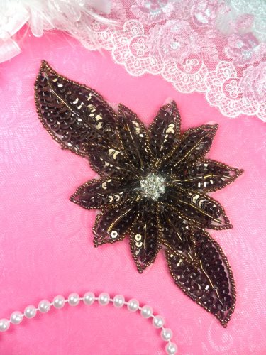 JB25 Chocolate Brown Floral Rhinestone Beaded Sequin Applique 6.5\
