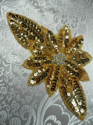 JB25 Gold Floral Rhinestone Beaded Sequin Applique 6.5\