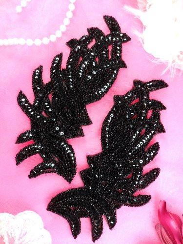 JB258 Sequin Appliques Black MIRROR PAIR Designer Dance Patch 7\