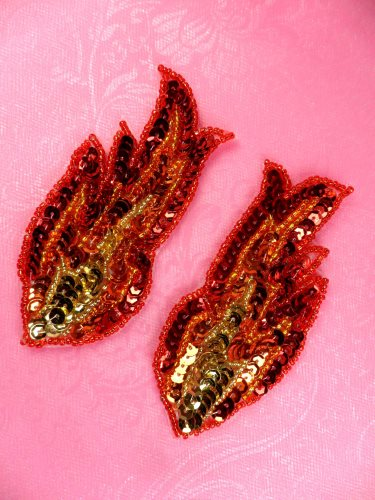 JB262 Sequin Appliques Red Orange Gold Beaded Mirror Pair Flames 4