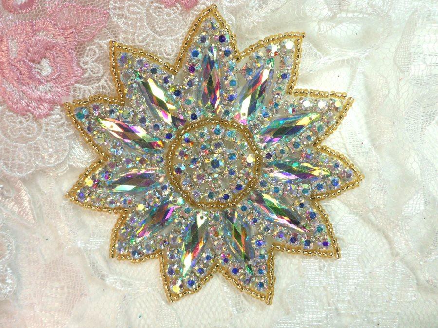 Crystal AB Rhinestone Applique Gold Beads Floral Bridal Star Sash Motif 3.75 (JB266)