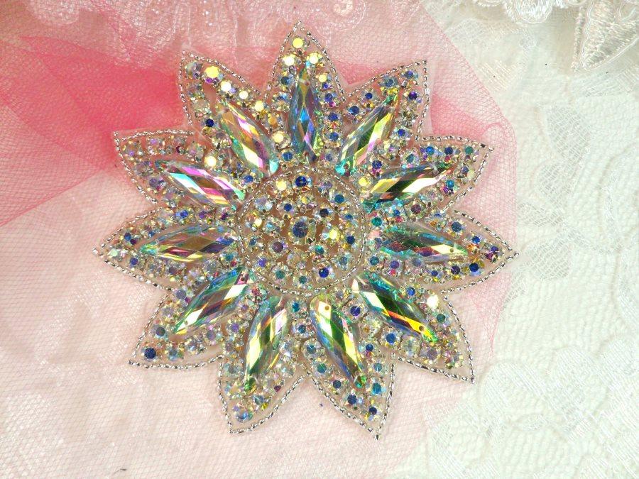 Crystal AB Rhinestone Applique Silver Beads Floral Bridal Star Sash Motif 3.75 (JB266)