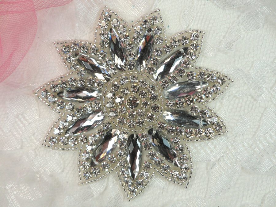 Rhinestone Applique Silver Beads Floral Bridal Star Sash Motif 3.75 (JB266)